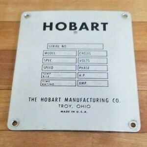 Hobart C 100 10 Quart 10 Qt Mixer Serial License Plate Back Cover P 85098