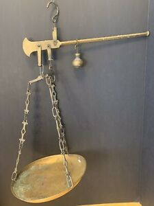 Antique Vintage Brass Balance Scale With Weight Tray Justice Ornate Apothecary