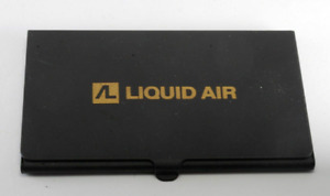 Rare Vintage Liquid Air Logo Black Metal Business Card Holder Case Nos Damaged