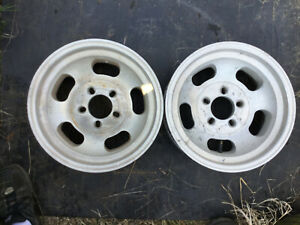 Pair 15x7 Slot Wheels Hot Rod Rat Chevrolet 5 4 75 Aluminum Rims Ford 4 5 Look