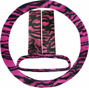 Steering Wheel Cover Seat Belt Covers Rear View Mirror Cover Pink Tiger