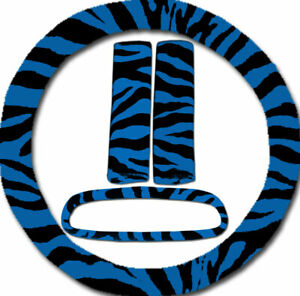 Steering Wheel Cover Seat Belt Covers Rear View Mirror Cover Blue Zebra
