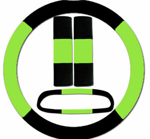 Steering Wheel Cover Seat Belt Covers Rear View Mirror Cover Black Lime Green