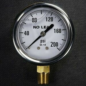 New Stainless Steel Liquid Filled Pressure Gauge 0 200 Psi 2 5 Face 1 4 Npt