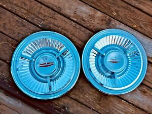 1962 Oldsmobile Starfire Spinner Hubcaps 62 Olds 98 pair