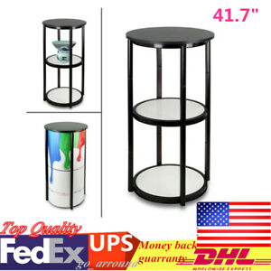 41 7 Round Folding Counter Display Case Black With Shelves 6 Pcs Clear Panels