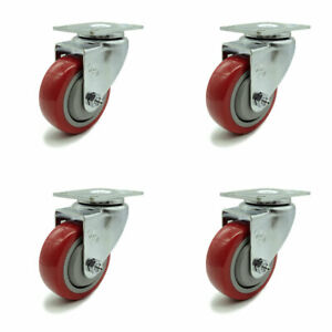Scc 3 5 X 1 25 Red Polyurethane Wheel Swivel Casters Set Of 4