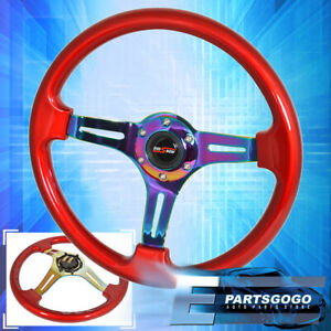 Universal 350mm 6 Bolt Hole Red Neo Chrome Steering Wheel Godsnow Button