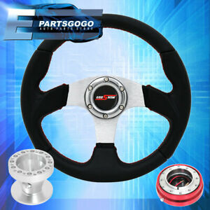 For 86 01 Integra 320mm Black Steering Wheel Red Godsnow Slim Quick Release