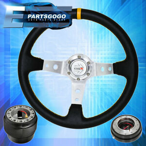 Deep Dish Black Steering Wheel Slim Quick Release Adapter For 96 15 Civic