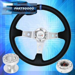 For 92 95 Civic 350mm Black Blue Steering Wheel Hub Quick Release Typer Horn