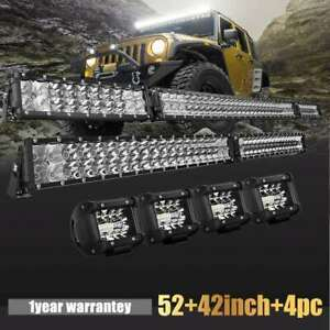 Dual rowled Light Bar 52inch 40 Combo 4 Pods For Ford Jeep Truck Suv 4x4wd