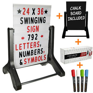 Swinging Changable Message Sidewalk Sign 24x36 With 792 Double Sided Letters