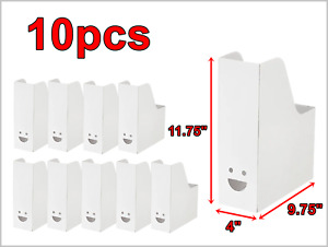 10pcs White Cardboard Holders Organizers For Office File Paperwork Magazine