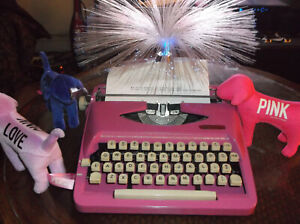 Antique 1960s Royal Cotten Candy Miami Pink Manual Portable Typewriter