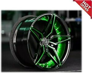 22 Staggered Marquee Wheels M3259 Black Green Inner Rims Custom Paint W Tires