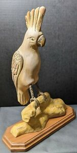 Vintage Wooden Wood And Metal Carved 19 Parrot Bird Figurine Statue