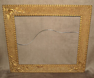 1880 S Antique Gold Button Floral Motif Mirror Or Picture Frame 67 21 X 24