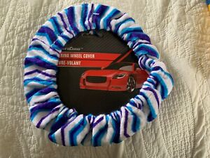 Blue White Driver Soft Plush Fuzzy Auto Car Steering Wheel Cover