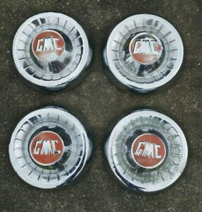 Set Of 4 Vintage Gmc Hubcaps 1950 S Chrome With Red