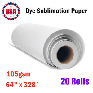 20rolls 105gsm 64 x328 Dye Sublimation Paper For Heat Transfer Printing 3 Core