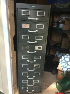Vintage Cole Steel Industrial 9 Drawer File Cabinet Mid Century