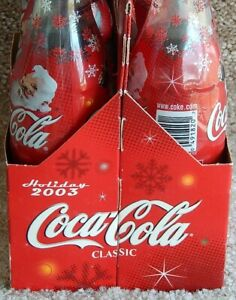2003 Holiday Coke Coca-Cola 6-Pack w/Cardboard Carrier Glass Bottles Metal Caps