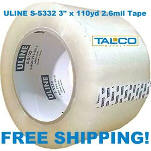 12 Rolls Uline S 5332 3 X 110 Yd 2 6 Mil Clear Heavy duty Packing Shipping Tape