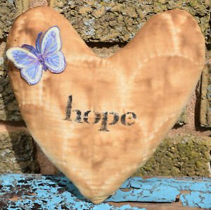 Primitive Small Quilt Heart Valentine Bowl Filler Butterfly Hope Stenciled