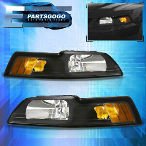 For 99 04 Mustang Gt Crystal Black Headlights Lamps Corner Turn Signal Amber