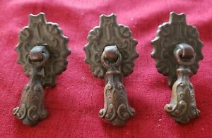 3x Antique Architectural Metal Two Piece Tear Drop Drawer Pulls Ornate Victorian