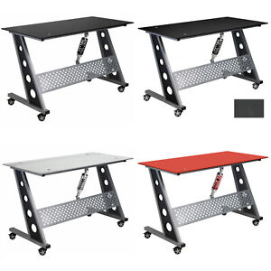 Pitstop Furniture Compact Glass Automotive Gaming Workstation Office Desk