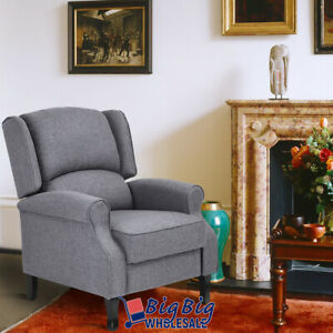 Recliner Chair Single Sofa Manual Push Back Grey Fabric Living Room Couch Lounge