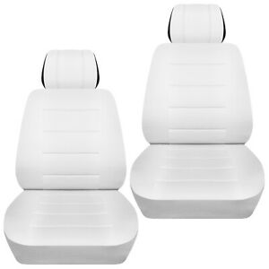 Front Set Car Seat Covers Fits 2010 2020 Kia Soul Solid White