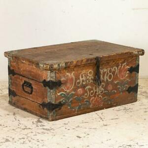 Antique Original Painted Flat Top Trunk With Tulips Dated 1789