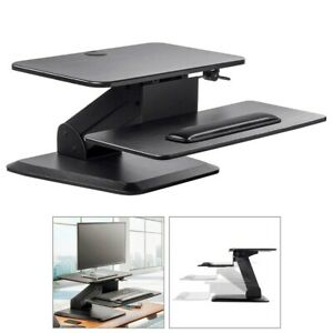 Sit Stand Height Adjustable Desktop Workstation Free Standing Laptop Monitor