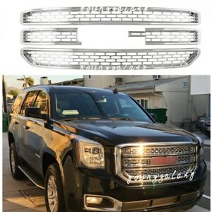 Chrome Snap On Grille Overlay Grill Covers Inserts Fits 2015 2020 Gmc Yukon Xl