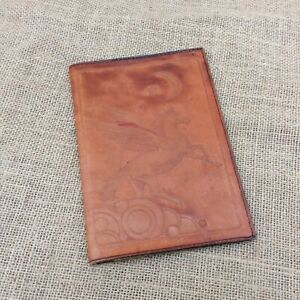 Vintage Hand Tooled Leather Notebook Cover Unicorn Design Dairy journal 6 8