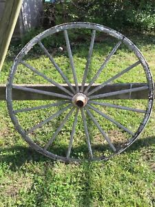 Antique Wooden Buggy Wagon Wheel With Iron Rim And Chippy White Paint