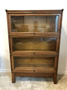 Yawman And Erbe Mfg Co Rochester Ny Original Glass And Oak 3 Drawer Book Shelf