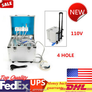 4 Holes Dental Mobile Delivery Unit Portable Rolling Case Air Compressor Suction