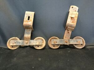 Vintage Pair Metal Barn Door Rollers Good Patina Wheels Roll Well