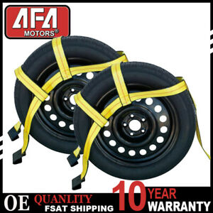Axle Car Wheel Bonnet Tow Dolly Straps Adjustable Tie Down With 2 Flat Hooks