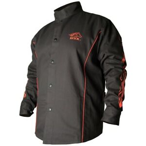 Revco Black Stallion Fr Cotton Welding Jacket Black With Red Flames Bx9c X large
