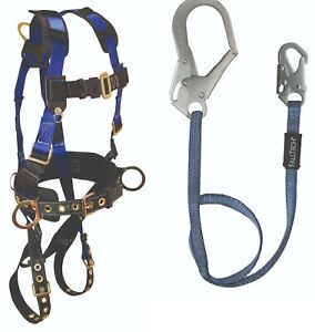 Falltech Safety Harness Combo 7073sm 3 D rings W 6 Ft Rebar Lanyard 82063 1ea