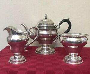 Antique Je Caldwell Philadelphia Sterling Silver Tea Set Teapot Sugar
