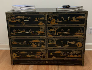 Black Lacquer Hand Painted With Gold Dresser