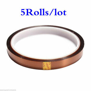 5rolls lot 10mm X 100ft 3d Sublimation Kapton Tape Heat Resistance Proof Tape