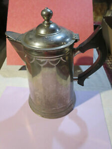 Antique Nickle Over Copper 12 Cup Coffee Pot Wooden Handle Nice Design