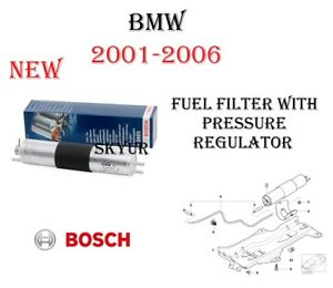 New Fuel Filter With Pressure Regulator Assembly For 2001 2006 Bmw E46 Bosch
